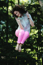 Bubble-gum-neon-skinny-mossimo-jeans-aquamarine-button-down-j-crew-shirt