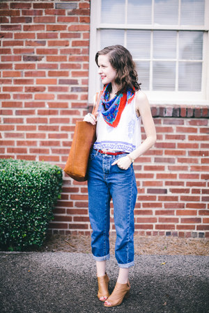 blue mom Topshop jeans - red vintage scarf - tawny tote madewell bag