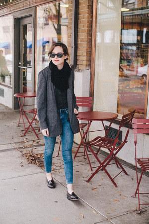 charcoal gray j jill blazer - blue skinny Topshop jeans