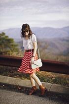 salmon chevron Target skirt - tawny western Jessica Simpson boots