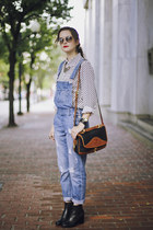 vintage Dooney & Bourke bag - chelsea tba boots - printed Tommy Hilfiger shirt