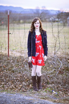 dark brown lace up Forever 21 boots - red American Eagle dress