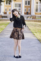 brown leopard print Rehab skirt - black sequined Living Doll shirt