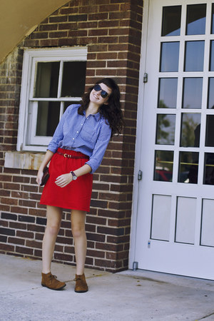 red flannel J Crew skirt - bronze mcalister Crewcuts boots - blue JCP shirt