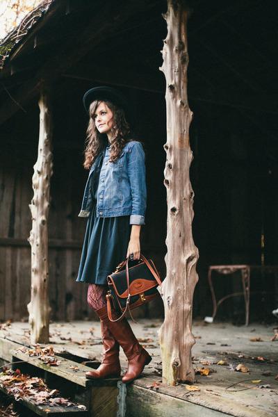 black H&M dress - brown knee high Dolce Vita boots