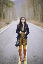 navy baroque Ruche dress - tawny riding DV Dolce Vita boots