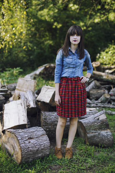 plaid thrifted skirt - mcalister J Crew boots - denim Jessica Simpson shirt