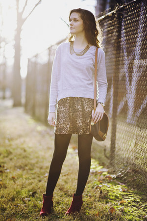 brown leopard print skirt - brick red ankle ONeill boots