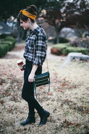 black high waisted BDG jeans - black plaid thrift shirt