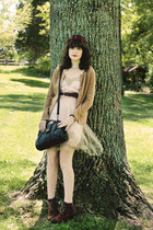 brown heeled suede Bear Traps boots - beige tulle Rodarte for Target dress