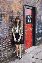 black brocade vintage jacket - black silk Forever 21 skirt
