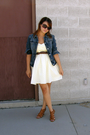 thrifted united colors of benetton jacket - f21 dress - thrifted belt - Glaze sh