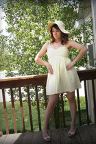 yellow Forever 21 dress - white Aldo shoes - beige Forever 21 hat