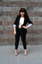 black Forever 21 blazer - neutral pocket Target t-shirt - yellow neon H&M belt -
