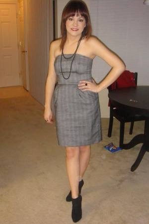 borrowed from a friend necklace - Express dress - forever 21 boots