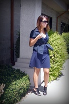 black studded belt - black Nine West shoes - blue American Eagle dress