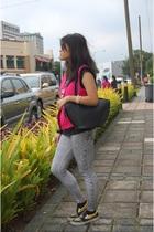 pink thrifted vest - gray Topshop leggings - black bag Louis Vuitton