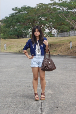 top - blue shorts - brown CMG shoes - brown espirit - blue cardigan
