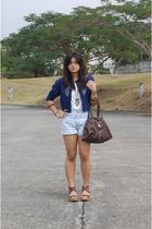 top - blue shorts - brown CMG shoes - brown espirit - blue cardigan