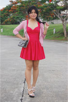 red Topshop dress - pink Mango cardigan - pink aliceolivia for Payless shoes