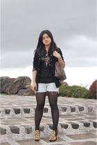 black Capezio stockings - Aldo - blue DIY shorts - brown espirit - black Vice Ve