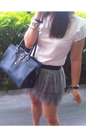 blue leather bag YSL bag - white cotton Dorothy Perkins shirt