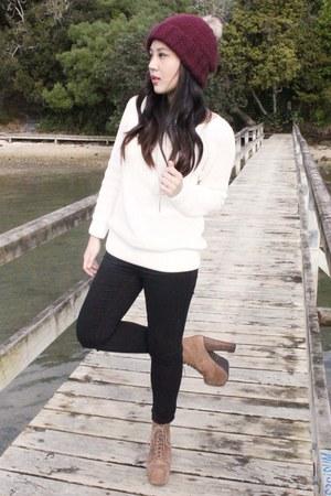 asos hat - Jeffrey Campbell boots - Topshop jeans - knit Dotti jumper