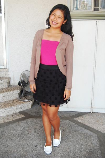 black custom made skirt - white shoebox shoes - pink Miss Selfridges top - brown