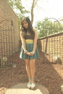 Dark-brown-theory-top-teal-forever-21-skirt-lime-green-bayo-belt