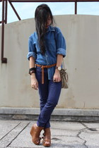 denim Guess top - christian dior purse