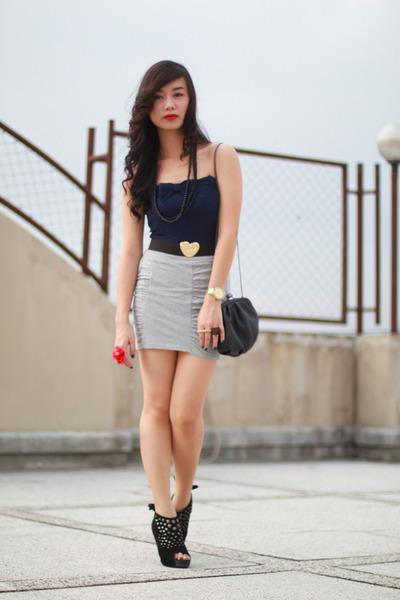 blue Zara top - silver Zara skirt - black The Ramp shoes - black Zara belt - bla