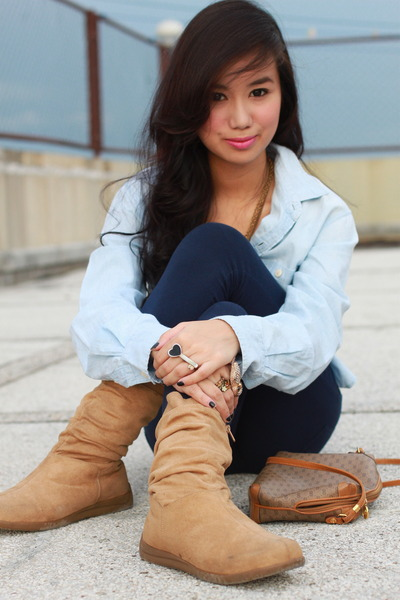 blue Ralph Lauren top - blue Forever21 pants - brown boots - brown Gucci - gold