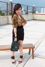 Brown-marks-spencer-top-black-belt-black-skirt-black-shoes-green-purse