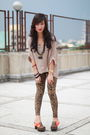 Beige-top-brown-leggings-brown-clogs-gold-aldo-accessories-black-h-m-acc
