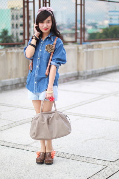 blue Guess top - blue shorts - brown From China - beige H&M - brown Zara accesso