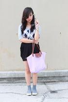 gray cardigan - black skirt - gold Aldo accessories - white Long Champ - gray so
