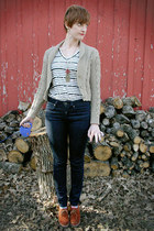 navy Gap jeans - camel modcloth cardigan - BDG t-shirt