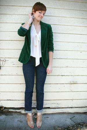 dark green vintage blazer - cream Zara blouse - nude Jeffrey Campbell heels