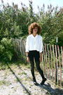 White-vintage-blouse-black-h-m-leggings-black-top-shop-shoes