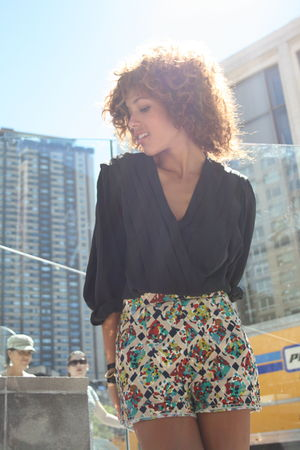 black robert haik blouse - red Missoni shorts