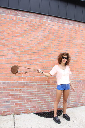 off white MyPetsQuare shirt - blue Topshop shorts