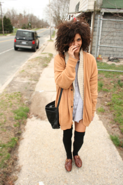 beige Thrifted cardigan cardigan - silver American Apparel dress - black America