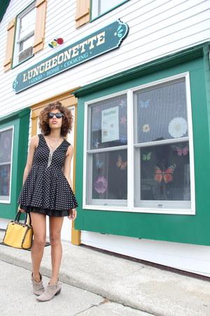 beige Joie boots - black material girl dress - mustard r&em bag