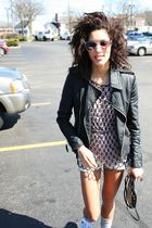 black f21 jacket - black Vintage Bead shirt accessories - purple James Perse shi