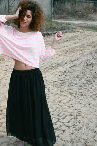 light pink brandy melville top - black American Apparel skirt
