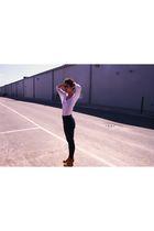 white American Apparel shirt - blue American Apparel pants - brown Jeffrey Campb