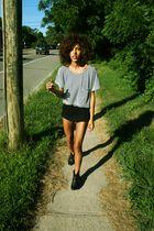 blue American Apparel top - black American Apparel shorts - black Lauren Moffat