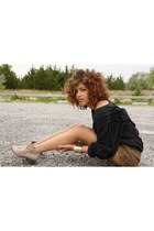 brown Forever 21 shorts - tan Joie boots - black vintage blouse