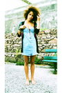 Black-insight-cardigan-blue-insight-dress