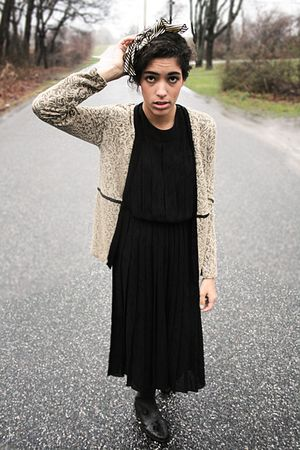 black dress - brown cardigan - black Urban Outfitters shoes